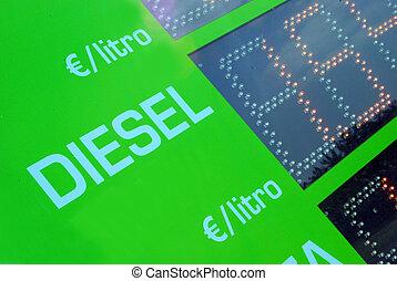 bensin, pris, underteckna, -, euro