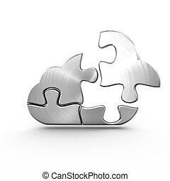 beräkning, kontursåg, metall, fristående, stycke, moln