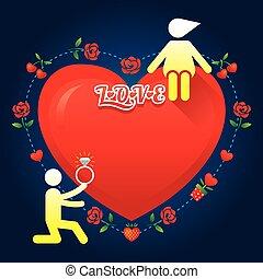 berättelse, kärlek, symbol, mänsklig, :, gifta sig med