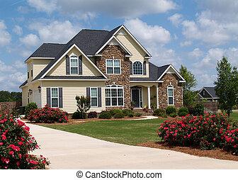 berättelse, två, hem, bostads