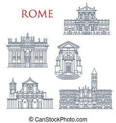 berömd, rom, milstolpar, bebyggelse, arkitektur