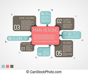 beskrivande, diagram, vektor, olika, retro, mall, bubblar