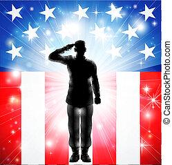 beväpnat, oss, hälsa, styrkor, flagga, militär, soldat, silhuett