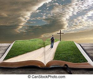 bibel, öppna, kors, man