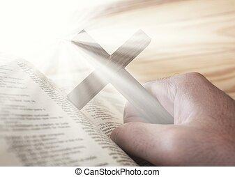 bibel, lätt, kors, holdingen, gudomlig, man