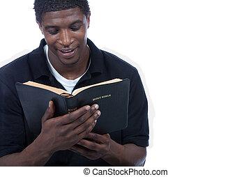 bibel, svart, läsning, man, ung