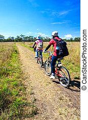 bicycles, ridande, cyklister, äng