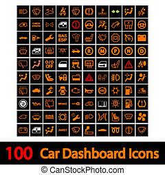 bil, 100, instrumentbräda, icons.