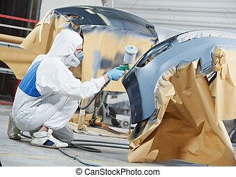 bil, bil, målning, mekaniker, stötfångare