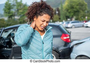 bil, fylleskiva, krasch, pisksnärt, efter, pinlig, stänkskärm