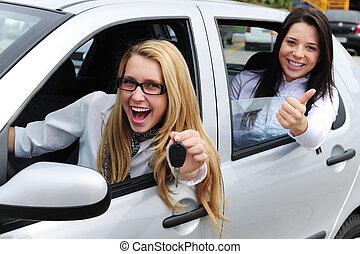 bil, kvinnor, rental:, drivande, färsk
