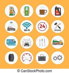 bil, lägenhet, service, ikonen