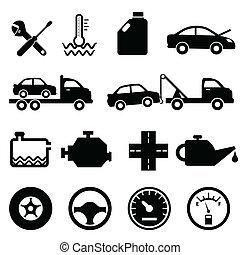 bil, mekaniker, underhåll, ikonen
