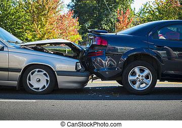 bil olycksfall, två, gälla, bilar