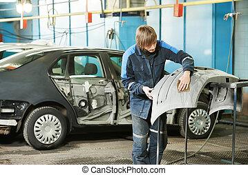 bil, plastisk, repairman, sandning, stötfångare