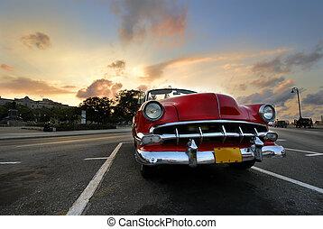 bil, röd solnedgång, havanna