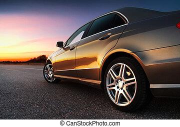 bil, rear-side, synhåll