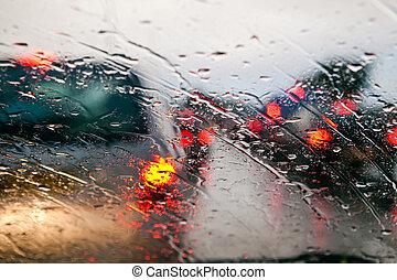 bil, regna, marmelad, trafik, under, vindruta