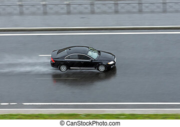 bil, ritt, svart, highway., regna