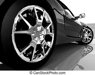 bil, sport, svart, upp slut