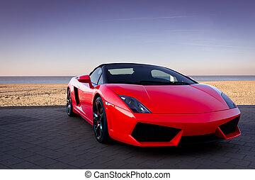 bil, strand, solnedgång, röd, sports