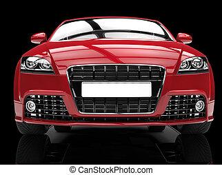 bil, svart röd, mäktig