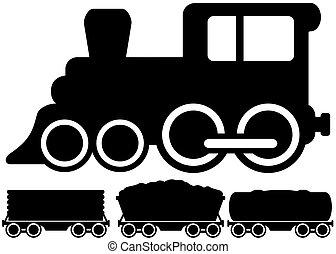 bil, tåg, isolerat, lokomotiv