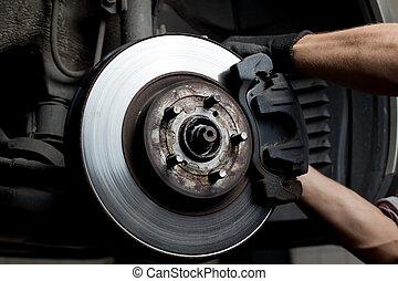 bil, vadderar, bromsa, mekaniker, reparera