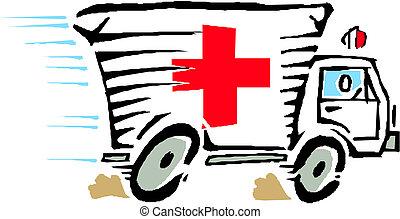 bil, vektor, skåpbil, ambulans