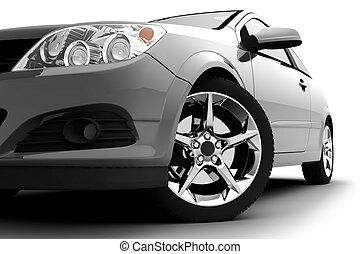 bil, vit, silver, bakgrund