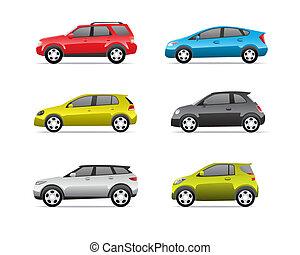 bilar, del, 2, sätta, ikonen