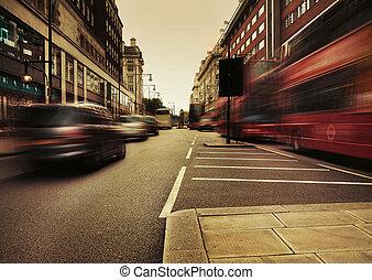 bild, förbluffande, trafik, presenterande, urban
