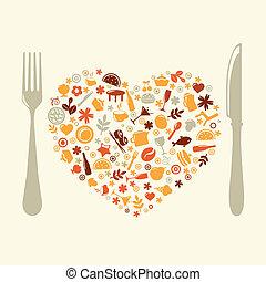 bilda, hjärta, restaurang, design