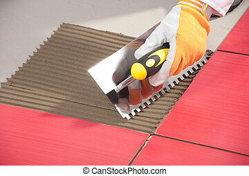 bindemedel, tegelpanna, arbetare, murslev, skåra, installera, tegelpanna, röd