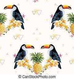 bird., pattern., seamless, tropisk, bakgrund., vektor, tukan, ananas, geometrisk, texture.