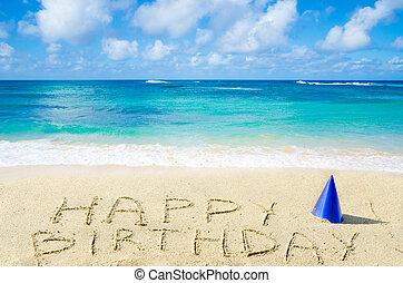 """birthday"""", strand, sandig, """"happy, underteckna"""
