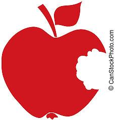 bitit, silhuett, äpple, röd