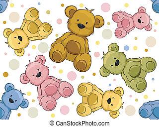 björnar, seamless, teddy