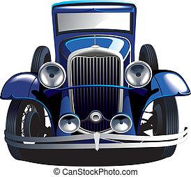 blå, årgång bil