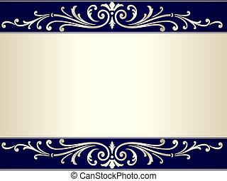 blå, årgång, rulla, beige fond, silver