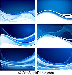 blå, abstrakt, sätta, bakgrund, vektor