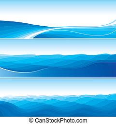 blå, abstrakt, sätta, bakgrunder, våg