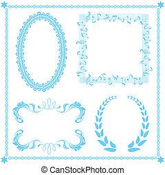 blå, abstrakt, sätta, ram