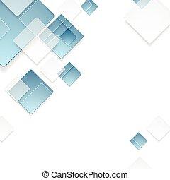 blå, abstrakt, tech, design, geometrisk, fyrkanteer