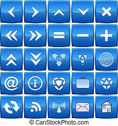 blå, abstrakt, vektor, sätta, ikon