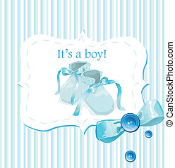 blå, baby skor, kort, inbjudan