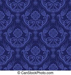 blå, blommig, tapet, lyxvara, damast