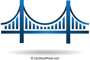 blå, bro, vektor, logo