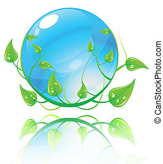 blå, concept., illustration, miljö, vektor, grön