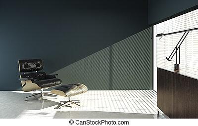 blå, eames, vägg, design, inre, stol